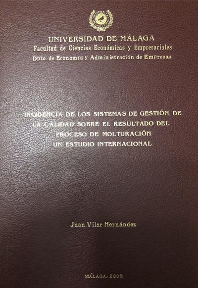 Incidencia de los Sistemas de Gestión de la Calidad sobre el resultado del Proceso de Molturación. Un estudio internacional