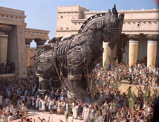 THE TROJAN HORSE WAS BUILT WITH OLIVE WOOD